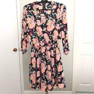 Pink floral 3/4 sleeve skater dress LUSH small